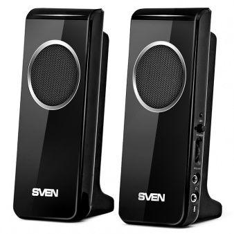 "Speakers SVEN 314 Black (USB),  2.0 / 2x2W RMS, USB power supply, headphone jack, microphone input, 2.2"""