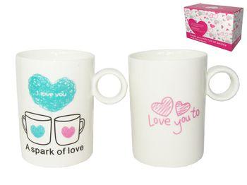 """Чашки """"Love"""" 2шт, 280ml, ручка-кольцо"""