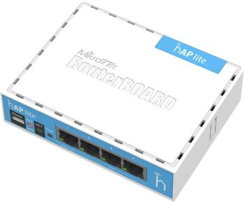 MikroTik RouterBOARD hAP lite classic case,  Wireless Router, 2.4GHz Dual chain, AP/Bridge/Station/WDS, 802.11b/g/n, 1 WAN + 3 LAN, internal antenna, Wireless chip model QCA9531 650MHz, RAM 32MB, RouterOS