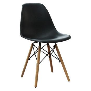 купить Стул пластиковый с деревянными ножками и металлическими креплениями, черный в Кишинёве