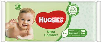 купить Влажные салфетки Huggies Ultra Comfort Aloe, 56 шт. в Кишинёве