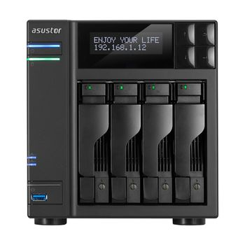 "4-bay NAS Server  ASUSTOR ""AS7004T"", Intel Core i3-4330 (Dual-Core) 3.5GHz, 2GB DDR3L(Max.16GB), 2.5""/3.5""SATA x4 (Hot Swap), LCD Panel, USB3.0 x3, USB2.0 x2, eSATA x2, GigaLAN x2, HDMI, S/PDIF, AES-NI, HT, IR, Surveillance: <49 (4 Free)"