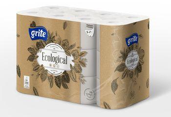 GRITE - Туалетная бумага Plius Ecological 3 слоя 24 рулона 14,85м