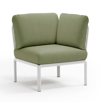 Кресло модуль угловой с подушками Nardi KOMODO ELEMENTO ANGOLO BIANCO-giungla Sunbrella 40374.00.140