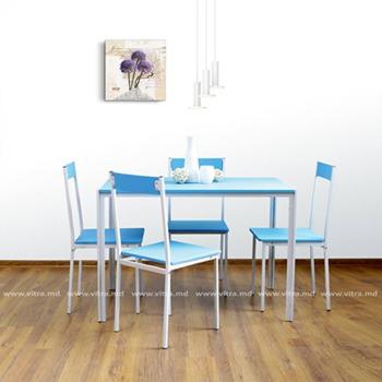 купить Комплект из стола и четырёх стульев из металла и MDF, 1100x700x760 мм. синий в Кишинёве