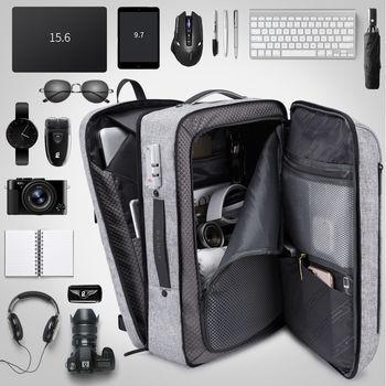 """купить Мужской многофункциональный рюкзак Bange  K87 для ноутбука 15.6"""", c USB портом, водонепроницаемый, cерый в Кишинёве"""
