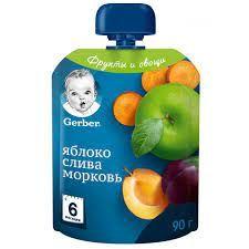 купить Gerber пюре яблоко, слива и морковь,6+ мес, 90 гр в Кишинёве
