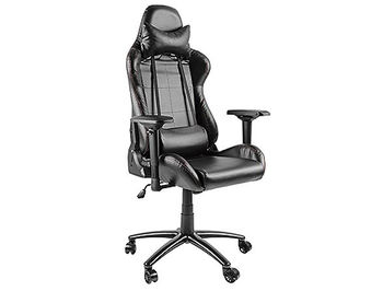 Lumi Gaming Chair with Headrest & Lumbar Support CH06-2, Black, 4D Armrest, 350mm Black Painting Metal Base, PU Hooded Caster, 100mm Class 3 Gas Lift, Weight Capacity 150 Kg