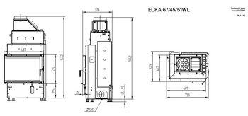 Каминная топка - HOXTER ECKA 67/45/51WL/WR - c водяным теплообменником (левосторонняя, правосторонняя)