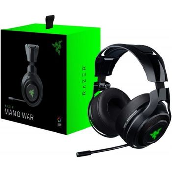 RAZER ManO'War 7.1 (Green Edition) / Analog-Digital Gaming Headset, Flexible & fully retractable Microphone, in-line Remote, 7.1 virtual surround sound with USB adapter, Cross-platform compatibility (PC/Xbox/PS4), 3.5mm jacks or USB, Black/Green