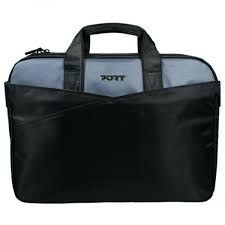 """PORT NB bag 15.6"""" - LUGANO II Black-Dark Grey / Fashion Line - Top Loading, with notebook compartment and space for documents, zipped front pocket with organiser, flat rear pocket, trolley and Shoulder strap"""