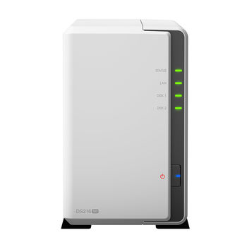 """2-bay NAS Server  Synology DS216se, CPU 800MHz, RAM 256MB, Internal HDD/SSD: 3.5"""" or 2.5"""" SATA(II) x2, USB 2.0 x2, LAN Gigabit x1; iOS/Android App, 24/7 Personal Cloud, Hardware Encryption Engine"""