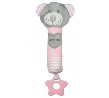 купить Пищалка плюшевая Baby Mix Мишка розовый в Кишинёве