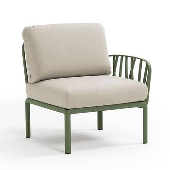 Кресло модуль правый / левый с подушками c водоотталкивающей тканью Nardi KOMODO ELEMENTO TERMINALE DX/SX AGAVE-TECH panama 40372.16.131