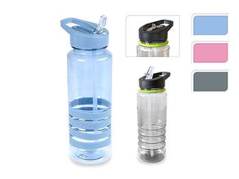 Бутылка питьевая EH 0.7l с трубочкой, пластик, 3 цвет