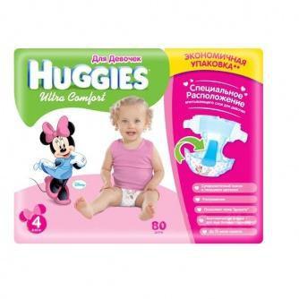 Huggies  подгузники Ultra Comfort 4 для девочек (8-14 кг) (80шт)