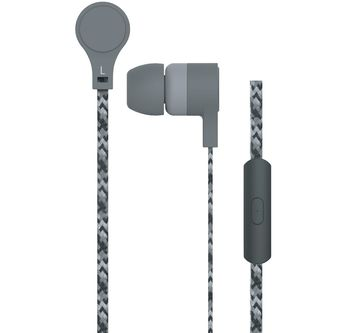 """MAXELL """"CORDZ"""" Grey, Earphones with in-line Microphone, Hands free calling features, 3 sets of ear tips, Fabric braided cord, Cord type cable 1.2 m"""