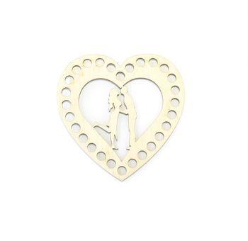 Formă din lemn inimă, 10 cm