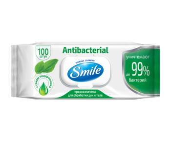 Bлажные салфетки  Smile антибактериальные с соком патлагина, 100 шт.