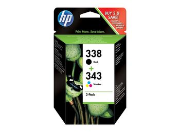 HP 338 & HP 343 Ink Cartridge, Pack of 2 cartridges: Black and TriColor
