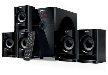 "SVEN HT-201 Black,  5.1 / 20W + 5x12W RMS, Bluetooth+EDR, FM-tuner, USB & SD card Input, Digital LED display, built-in clock, remote control, all wooden (sub.5.3"" + satl.3.2"")"