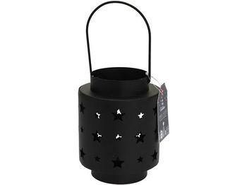 """Подсвечник металлический """"Фонарь"""" H13cm, D10cm, звезды, черн"""