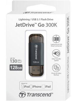 купить Lightning/USB3.1 Flash Drive Transcend JetDrive Go 300, Black Plating 128Gb в Кишинёве