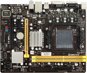 Biostar A960D+ V2, Socket AM3+/AM3, AMD 890GX / SB710, Dual 2xDDR3-1866, ATI Radeon™ HD4290 Graphics up 1Gb, DVI, 1x PCI-Ex16, 1x PCI-Ex1, 1x PCI, 1xATA133 + 4xSATA2, RAID, ALC662 6-Ch HD Audio, Gigabit LAN, 125W, mATX