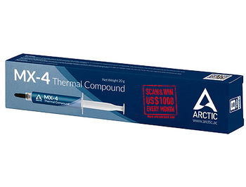 Arctic MX-4 Thermal Compound 2019 Edition 20g, Thermal Conductivity 8.5 W/(mK), Viscosity 870 poise, Density 2.50 g/cm3