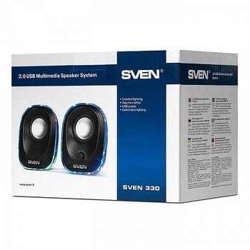 "SVEN 330 Black (USB),  2.0 / 2x2,5W RMS, Effective multi-colored LED, USB power supply, headphone jack, microphone input, 2.2"""