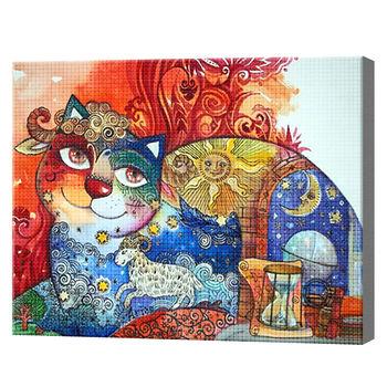 Кошачьи сны, 30x40 см, aлмазная мозаика