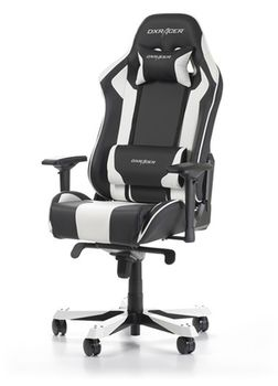 Gaming Chairs DXRacer - King GC-K06-NW-S3, Black/White/Black - PU leather & Carbon look PVC,Gamer weight up to 150kg/growth 160-195cm,Foam Density 54kg/m3,5-star Wide Alum Base,Gas Lift 4 Class,Recline 90*-135*,Armrests:4D,Pillow-2,Caster-3*PU,W-30kg