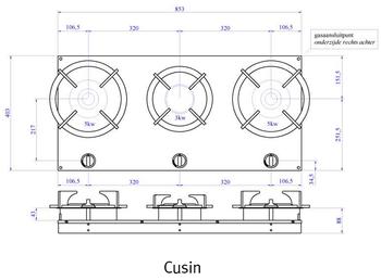 Газовая панель Reginox Cusin 3-Pitt
