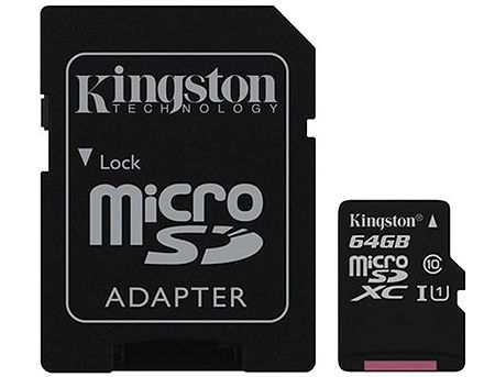64GB Kingston Canvas Select Plus SDCS2/64GB microSDHC, 100MB/s, (Class 10 UHS-I) + Adapter MicroSD->SD (card de memorie/карта памяти)