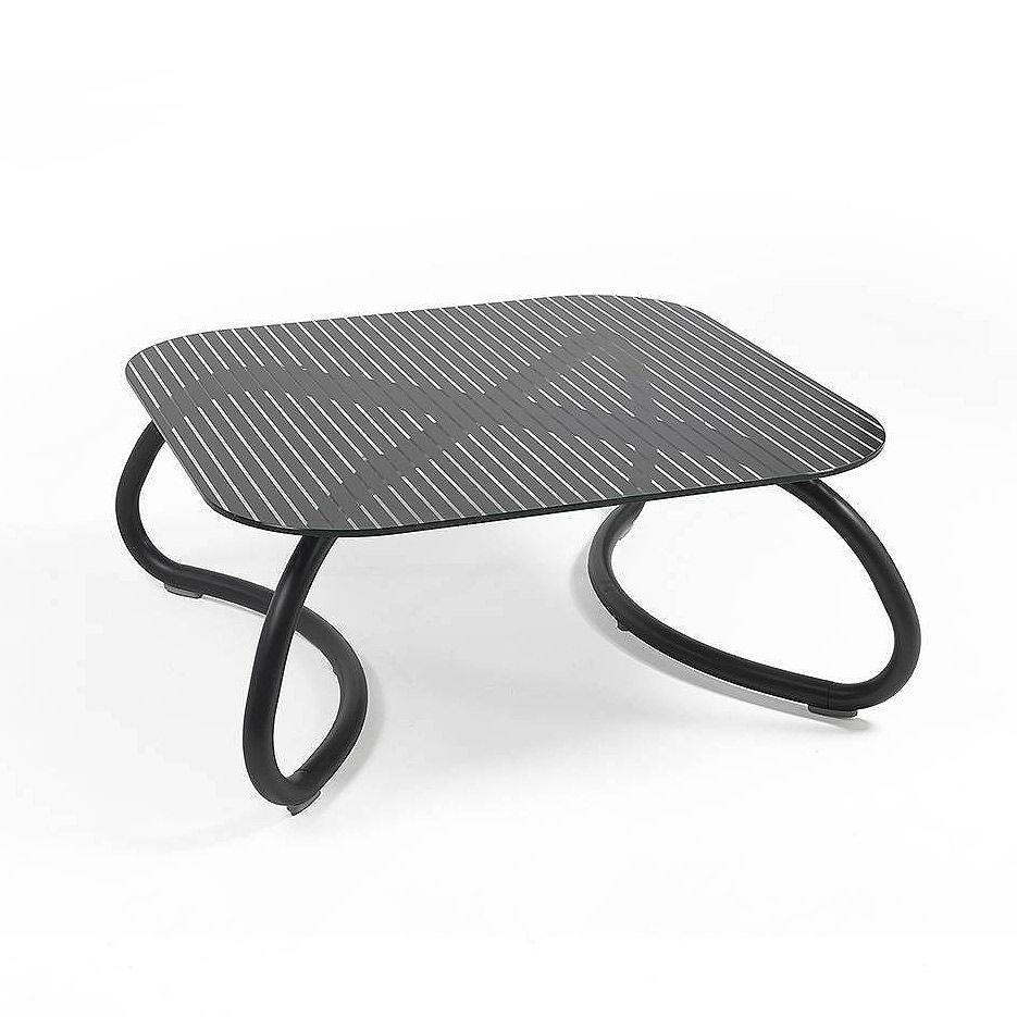 Столик стеклянный кофейный Nardi LOTO RELAX 95 ANTRACITE vern. antracite 44752.02.000 (Столик стеклянный кофейный для сада лежака террасы балкон)