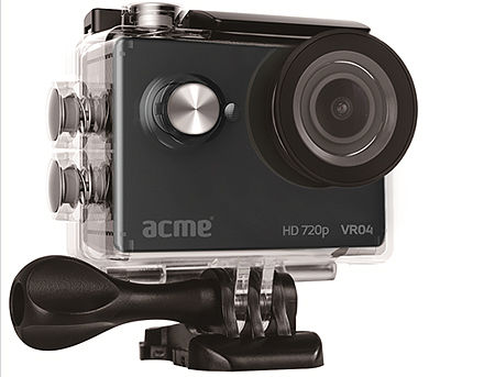 "ACME VR04 Compact HD Sports & Action camera, 2"" LCD (320 x 240 pixels), Aperture f/2,25, Lens angle 140°, Lens 5mm, HD 720p, 5MP JPEG, Water proof case, Microphone, micro USB, 900mAh Li-Ion battery (camera video sport)"