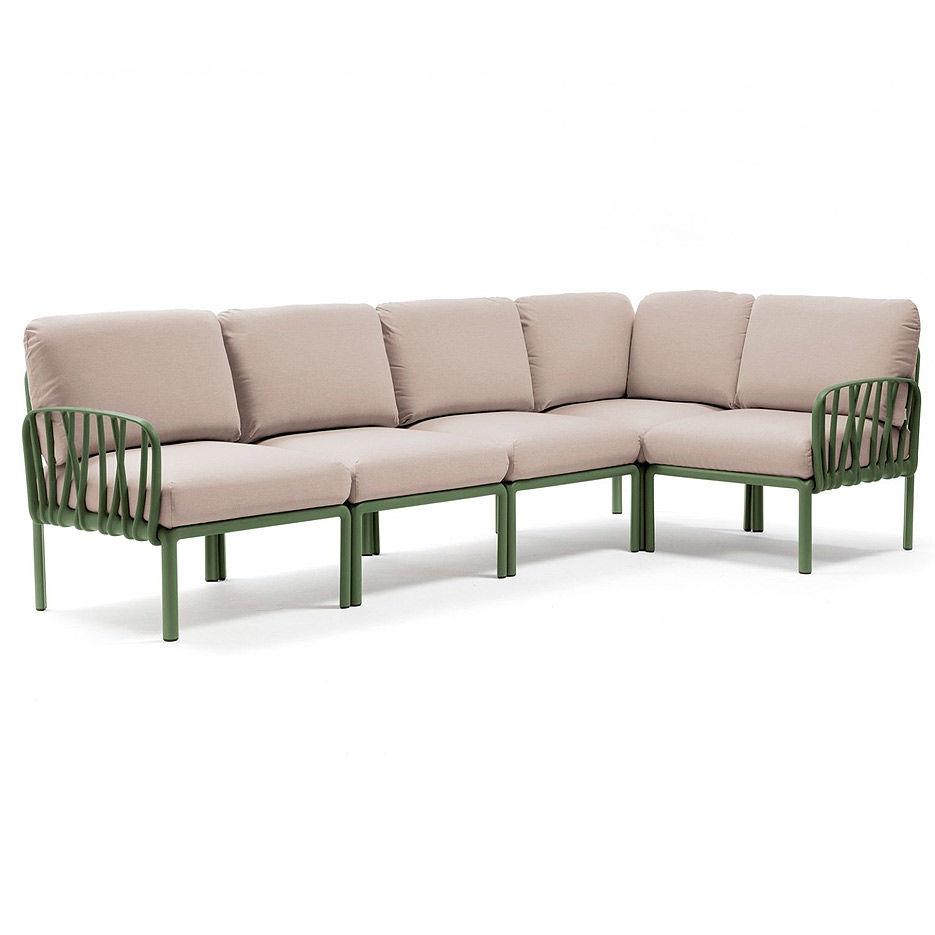 Диван с подушками Nardi KOMODO 5 AGAVE-canvas Sunbrella 40370.16.141 (Диван с подушками для сада и терас)