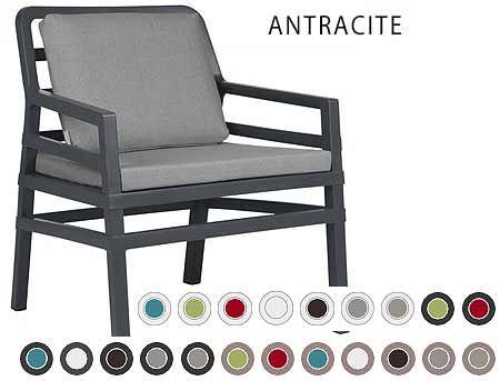 Fotoliu de gradina / de exterior Nardi ARIA POLTRONA (fotoliu + perna spate + perna sezut) acrilic fabric (21 combinatii de culori)