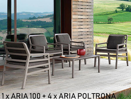 Комплект садовой мебели стол Nardi ARIA TAVOLINO 100 + 4 кресла Nardi ARIA FIT