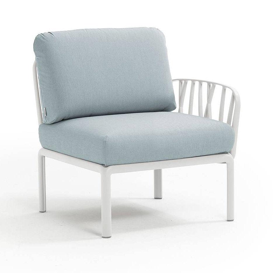 Кресло модуль правый / левый с подушками Nardi KOMODO ELEMENTO TERMINALE DX/SX BIANCO-ghiaccio Sunbrella 40372.00.138