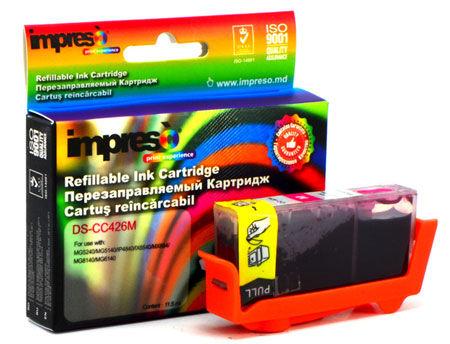 Impreso IMP-DS-CC426M Magenta Refillable Canon iP4840/4940/ MG5140/5240/ 5340/6140/ 6240/8140/ 8240/MX714/ 884/894/ iX6540, w/chip (10ml) (cartus/картридж)
