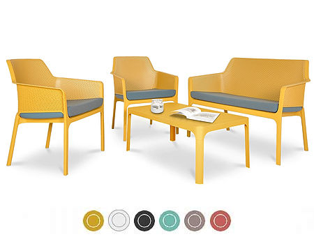 Комплект садовой мебели NARDI NET BENCH + 2 кресла NET RELAX + стол NET TABLE 100 + подушки для кресел