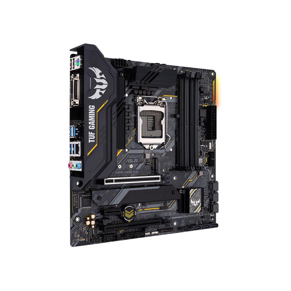 ASUS TUF GAMING B460M-PLUS Intel B460, LGA1200, Dual DDR4 2933MHz, 2xPCI-E 3.0x16, DP 1.4/HDMI 1.4b/DVI-D, AMD 2-Way CrossFireX, USB3.2, SATA RAID 6Gb/s, 2 x M.2 x4 Socket, Intel Optane, SB 8-Ch., GigabitLAN, AURA Sync