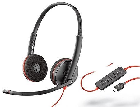 Plantronics Blackwire 3220 Stereo USB-A Headset 209745-201, Microphone noise-canceling, SoundGuard, DSP, output 20 Hz–20 kHz, Mic 100 Hz–10 kHz, Remote call control