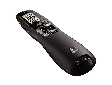 Logitech R700 Black Laser Presentation Remote 2.4 GHz wireless, Up to 30-meter range, Battery indicator, Red laser pointer, LCD display, 910-003506