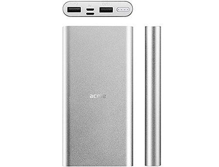 ACME PB15S Silver Power bank, Li-polymer 10 000 mAh (37 Wh), Input 1: Lightning DC 5 V/1.5 A, Input 2: Micro USB, DC 5 V/2 A, (acumulator extern universal / универсальный мобильный внешний аккумулятор) www