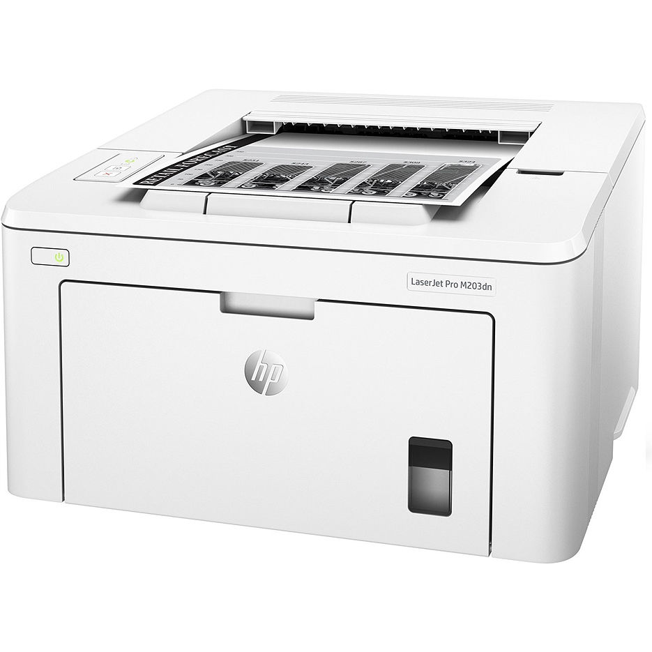 Printer HP LaserJet Pro M203dn, White, A4, 1200 dpi, up to 28 ppm, 256MB, Duplex, Up to 30000 pages/month, USB 2.0, Ether 10/100, PCL5c, PCL6, Postscript, HP ePrint, Apple AirPrint™, CF230A Cartridge (~1600 pages) Starter ~1000pages