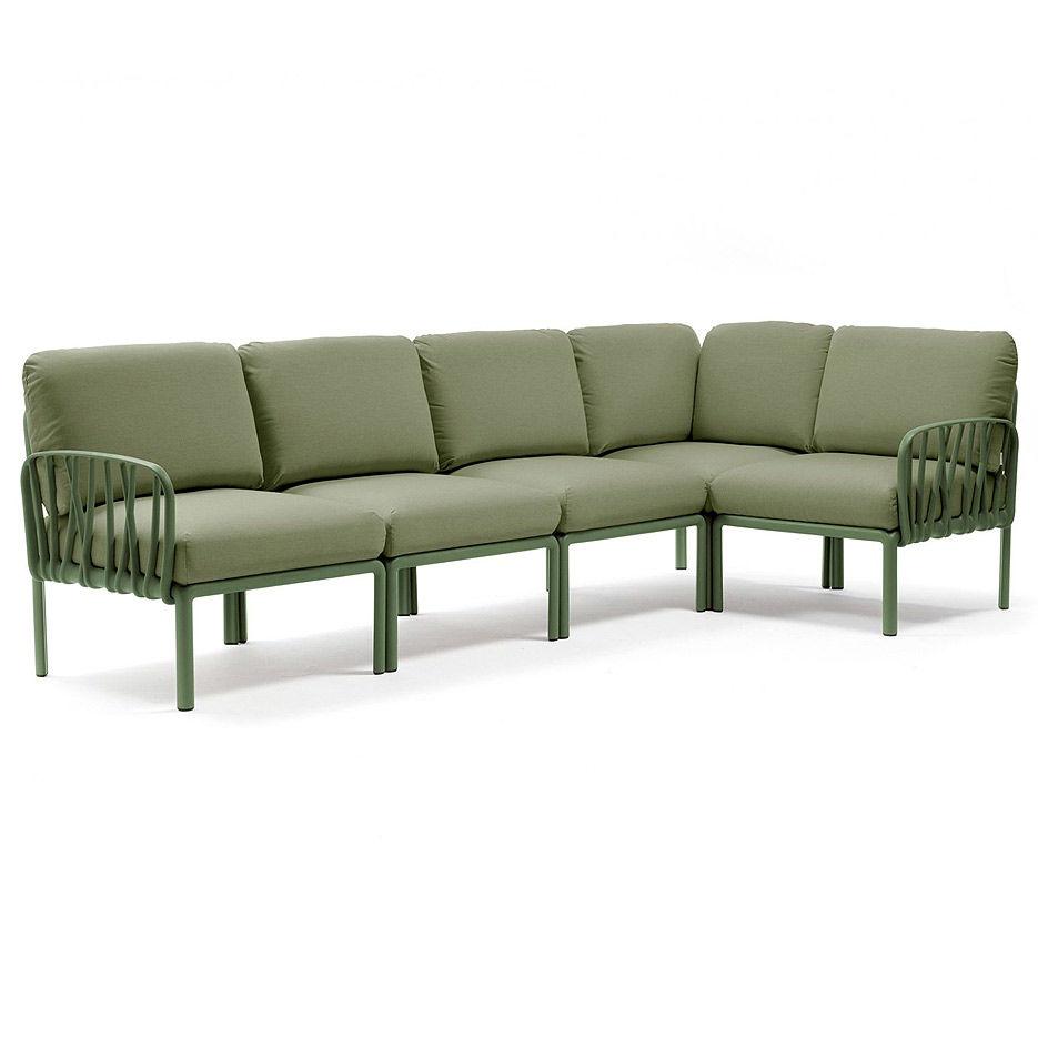Диван с подушками Nardi KOMODO 5 AGAVE-giungla Sunbrella 40370.16.140 (Диван с подушками для сада и терас)