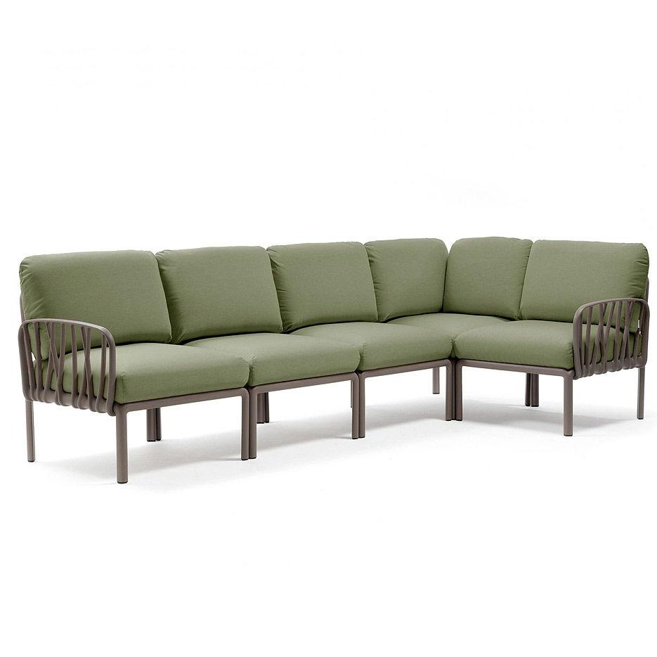 Диван с подушками Nardi KOMODO 5 TORTORA-giungla Sunbrella 40370.10.140 (Диван с подушками для сада и терас)