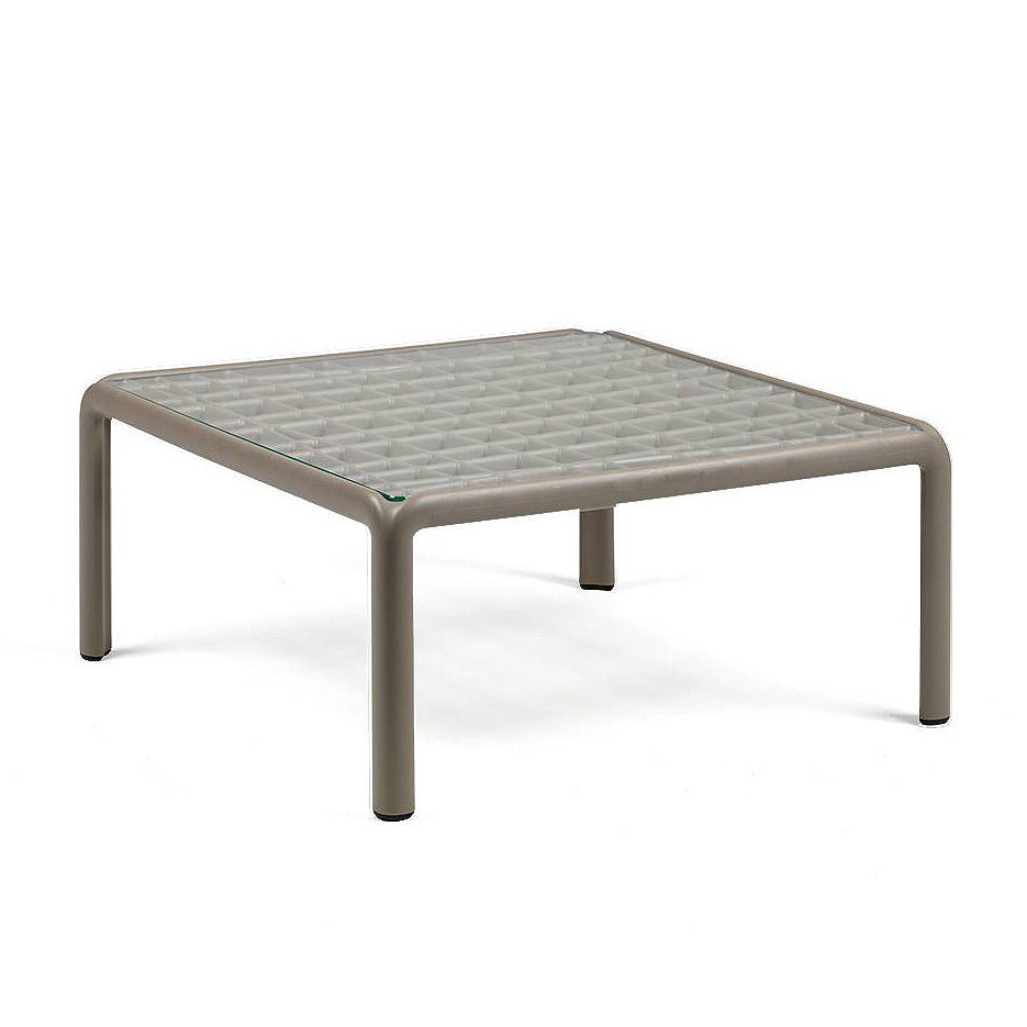 Столик кофейный Nardi KOMODO TAVOLINO VETRO TORTORA 40368.10.501 (Столик кофейный для сада и террасы)